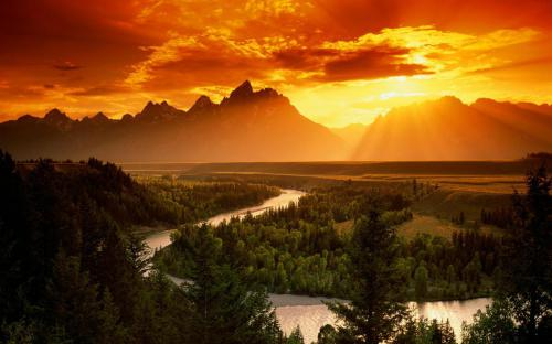 decline sun light evening river bends trees wood height orange silence serenity freedom 63290 1920x1200